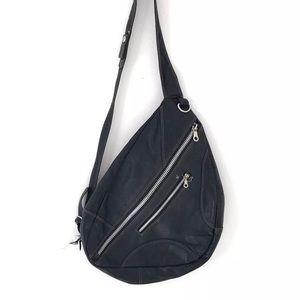 Black Leather Vintage Boho Cross Body Festival Bag